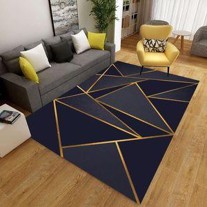 Tapete impresso geométrico na sala de estar Anti-deslizamento Lavável Tapetes grandes Tapetes Bedside Sofá Bedside Tapete Decoração Área macia Tapetes 210301