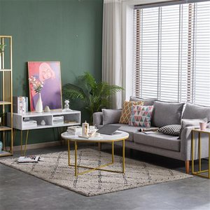 2021 Novo projeto de mármore redondo simples mesa de café [90 x90 x48.5 cm] Tabela de chá branco