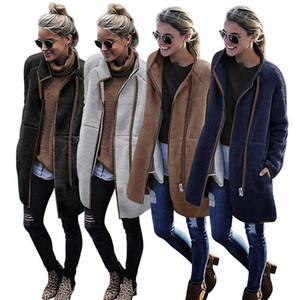 Winter fashion high collar color matching long coat zipper pocket Plush cardigan women's four colors