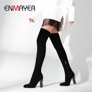 ENMAYER 2019 Sobre la rodilla Botas de invierno Mujeres se deslizan en las botas delgadas de gamuza Faux Toe Round Toe Basic Square Heel Mujer zapatos 34 41 Zapatos Sexy B R5OP #