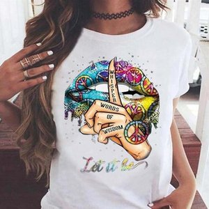 Drop Shipping T-shirts Casual O Neck Kurzarm Tops Haltestelle Geste Sommer Womens Designer Tshirts Kleidung Lippen Muster Frauen
