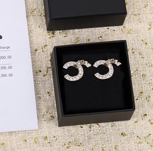 2021 New design stud earring with diamond for women wedding jewelry gift have stamp box PS4079