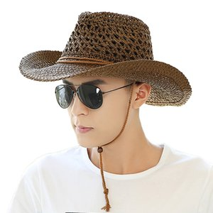 Panama Hat Summer Sun Hats for Women Man Beach Straw Hat for Men UV Protection Cap chapeau femme cowboy hat 2020 Maershei Q0305