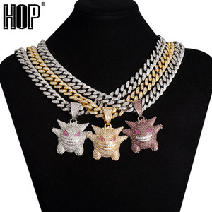 Hip Hop Iced Out Gengar Bling Ghost Alloy Gold Color Pendant & Necklace 13 MM Cuban Chain For Men Women Jewelry