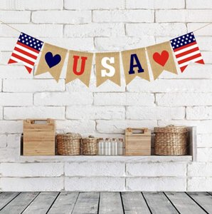 USA Swallowtail Banners Independence Day String Flags USA Letters Bunting Banners 4th of July Party Decoration Free Shipping GWF5030