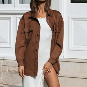 Women's Jackets Jacket Casual Loose Corduroy Female Solid Color Autumn And Winter 2021
