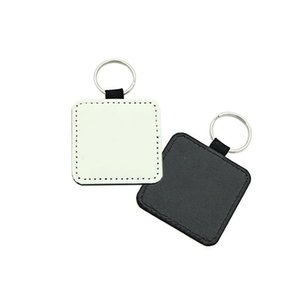 Sublimation Blank Keychain Leather Heart Round Square MDF Keychains Single Printing Sublimation Heat Transfer Craft Keychains ZC021