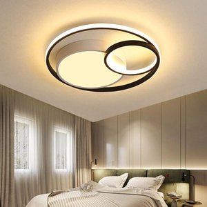Ceiling Lights Black And White Round Modern Master Bedroom Lamp Minimalist Type Led Study Small Room Lam
