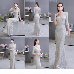Babyonlinedress Real Image Silver Seuqins Beads Mermaid Prom Dresses 2020 Sexy Illusion Keyhole Back Evening Party Dresses Prom Gown CPS1819