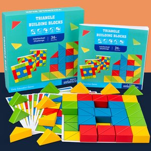 Wholesale triangle jigsaw building blocks children's early education puzzle focus training parent - child interactive patchwork wooden toys