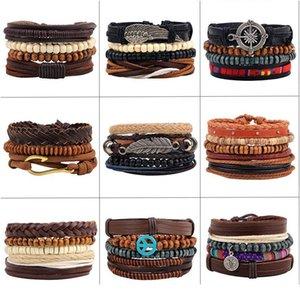 Новый стиль браслет орнамент многопартный комбинированный браслет ручной работы из кожи ручной работы из деревянных бусин из бисера сплетенный браслет N Jllowj