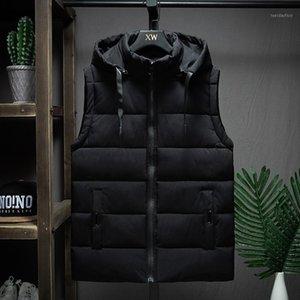 Men's Vests Winter Sleeveless Jacket Men Casual Down Vest Warm Thick Hooded Coats Male Cotton Pad Men's Work Waistcoat Gilet Homme L-4X