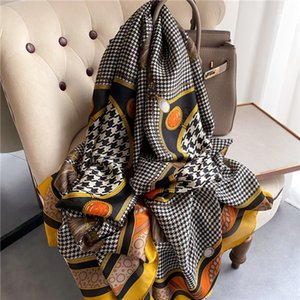 Fashion high quality women 10 color spring and summer retro classic beach shawl casual elegant silk scarf shawl