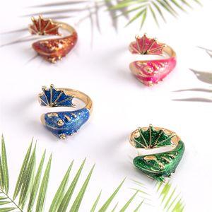 Gold Glitter Green Enamel Snake Ring Adjustable Dragon Midi Band Rings Fashion Ins Summer Jewelry 1608 T2