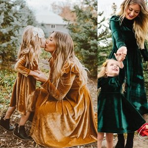 Autumn Mother Daughter Dress Full Sleeve Mommy and Me Dresses Clothes Family Matching Outfits Look Mom Mum & Baby Girl's Dress 210317
