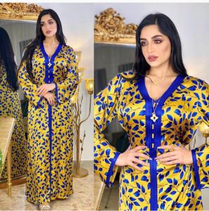 Women's Robe Dress 2021 Fashion New Lady's Loose Long Dresses V Neck Long Sleeve Printing Dress Ethnic Clothing