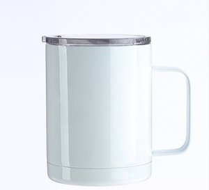 12oz Sublimation Blanks Coffee Mugs With Handle Lids Blank Thermal Transfer Tumblers Stainless Steel Drinking Cup By Sea GWE9503