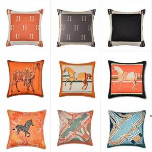 Cubiertas de cojines de la serie de naranja Flores de caballos Funda de almohada de impresión para la silla de hogar Sofá decoración cuadrada pillowcases OWB5579