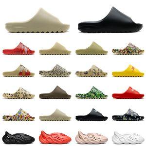 yeezy sides slippers foam runner CON SCATOLA 2021 Ciabatte estive Pantofole Moda Schiuma Runner Desert Sand Triple Black Resin Slide Sandal Uomo Donna KID Slipper