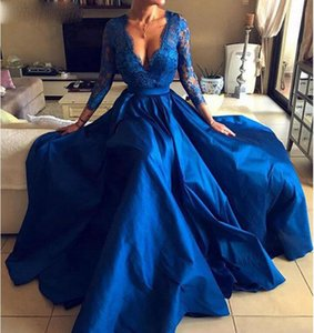 New Arrival V Neck Long Sleeve Prom Gowns 2021 Royal Blue Lace Formal Dresses Party Robes De Soiree Evening Gowns