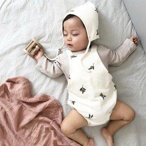 Facefoeous Herbst Kleinkind Hosenträger Bodouits Baby Boy Overall Print Mädchen Baumwolle Netter Overall mit Hut 210309