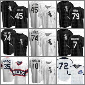 74 Eloy Jimenez Beyzbol Forması Chicago Custom White Sox 45 Michael 7 Tim Anderson Jose Abreu Yoan Moncada Frank Thomas Carlton Fisk Black