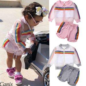 Kid Clothing Set Suit Rainbow Stripe Transparent Coat Vest Shorts 3 Pcs Girl Sun Protective Outfit Summer Clothes
