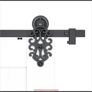 DIYHD 5FT-10FT WORNATE CUT ROLLER BLACK GEWIRT REINSTRIED TOOR Hardware für Single / Double Barn Tür YG7CZ QDFEX