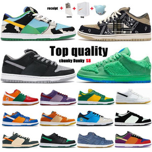 2021 Dunk SB Travis Scotts Running Shoes Red Green White Brand Black Parachute Men Beige Hombres Skin Skate Sports Shoes Tamaño 36-46 con la mitad