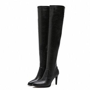 Over-the-knee botas mulheres elástico preto inverno botas fina montanhas de salto alto senhoras sexy pointed toe sapatos botas mujer 2019 t1tv #