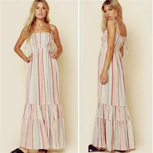 Multicolor Print Sling Kleid Sexy Lace Up Hohe Taille Bohemian Seaside Holiday Beach Designer Famal Dress Womens