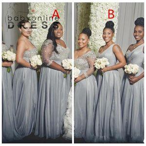 2021 블링 블링 실버 아랍어 신부 들러리 드레스 한 숄더 웨이브 시폰 이브닝 드레스 섹시한 겸손한 하녀 명예 파티 가운