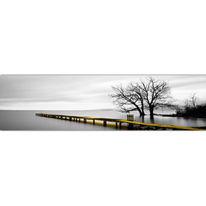 Calm Lake Surface Long Yellow Bridge Scene Black White Canvas Paintings Poster Prints Wall Art Pictures Living Room Home 693 K2
