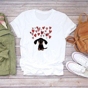 Мода Женщины футболка с коротким рукавом Vogue Tshirt Dog Love Heart Print Girls Tee Teps Женщины Одежда Футболки Футболка Kawaii