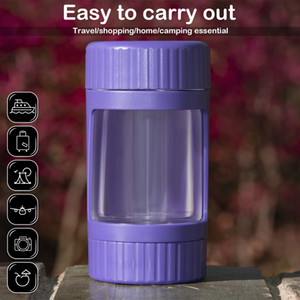 New Tobacco Cans Multi-Function Portable Transparent LED Tobacco Grinder With Lamp Support Custom Magnifying Glass Storage Cans Free DHL