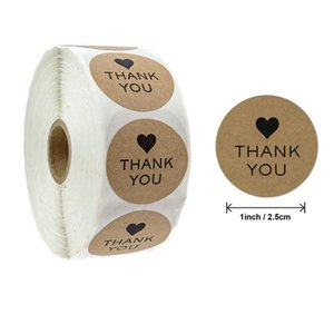 500pcs Roll Round Thank You Kraft Paper Hand Made with Love Labels Seal Stickers for Craft Box Baking Products Gift