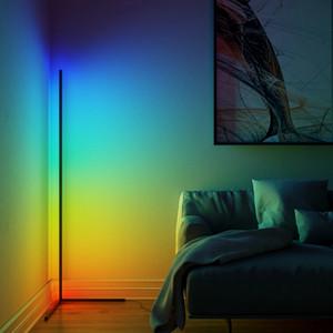Dégammage Black White Floor Lamp moderne RVB Remote LED lampes de sol debout lampe debout Simple RVB Coin debout Lampadaire