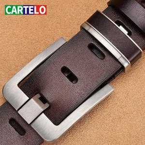 CARTELO Mens leather alloy pin buckle jeans belt fashion business cow genuine leather mens youth luxury retro classic belts