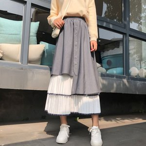 Autumn Spring High Waist Skirt Women Robes Irregular Color Stitching Midi Pleated Skirts A-line Casual Skirt TA8235