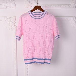 2021 Milan Style Spring Summer Brand Same Style Sweater Pink White Print Regular Short Sleeve Women Clothes mingzhi