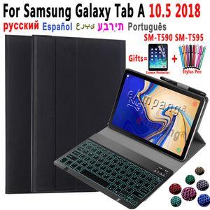 Light Backlit Keyboard Case For Samsung Galaxy Tab A 10.5 2018 SM-T590 SM-T595 T590 T595 Cover Russian Spanish Arabic Keyboard