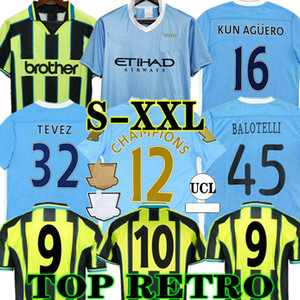 Manchester City TOURE YAYA BALOTELLI Retro 11 12 City Soccer Jersey Classic Final 2011 2012 Man Kun Agüero Silva Tevez 98 99 Camisa de fútbol vintage Kompany