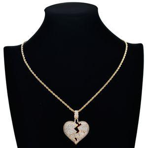 Necklace Hop Fashion Accessories Jewelry Men Luxury Designer Hip Rapper Out Diamond Pendant Broken Mens CZ Heart Pendants Iced Bling Ch Iurp