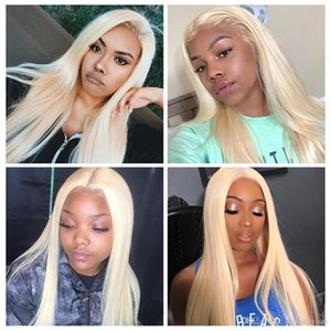 Hair #613 Blonde Transparent Lace Wigs 180% Density Straight Brazilian Remy Human Hair lace front Wig For Women