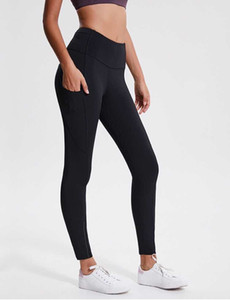 lulu Leggings women yoga outfits ladies sports yoga leggings ladies pants exercise & fitness Wear Girls Running yoga pants side pockets