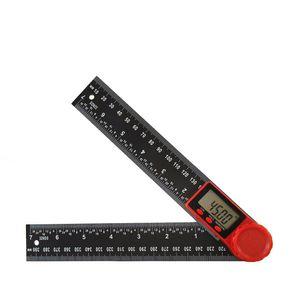 2 200mm에서 300mm 게이지 도구 LCD 디지털 디스플레이 각도 눈금자 360도 탄소 섬유 경사계 고양 계로 측정기 목공 전자 파인더 측정