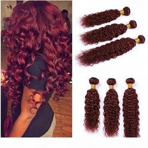 Wet and Wavy Human Hair Bundles Burgundy Red Peruvian Virgin Hair Weaves Pure 99J Wine Red Water Wave Human Hair Extensions 3Bundles Lot