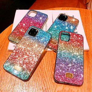 For iPhone 12 MINI 11 PRO XS XR MAX 8 7 6S Plus Designer Case Gradient Glitter Diamond LOVE Fashion Defender Phone Case