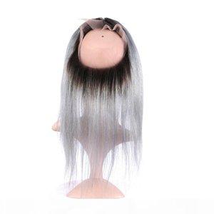 DROIT 1B GREY OMBRE FONTAL 360 BAND LACE Fermeture avec 3bungles Péruvien Virgin Péruvien gris Ombre Hair avec 360 en dentelle frontale