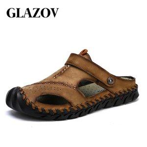 Glazov Brand New Summer Man Strand Kork Hausschuhe Casual Männer Schnalle Echtes Leder Ausschnitte Clogs Clogs Rutschen Slip auf Schuhe plus 38-48 210306